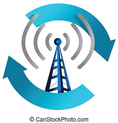 wi fi tower cycle illustration