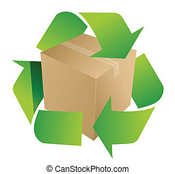box recycle symbol illustration design on white