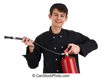 Chef fire fighter - A chef with a fire extinguisher,...
