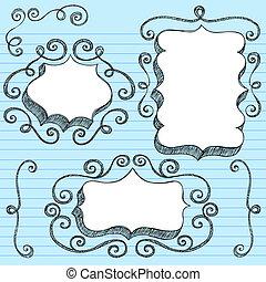 Sketchy Doodle Ornate Frames Vector
