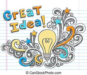 Light Bulb Great Idea Sketchy - Great Idea LIghtbulb...