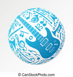 Music instruments in bauble shape - Love for music concept...