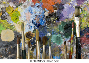 Paintbrushes and palette - Paintbrushes used and dirty...