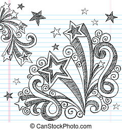 Sketchy Shooting Star Doodle Design - Hand-Drawn Back to...