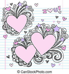 Valentines Day Doodle Love Hearts - Hand-Drawn Valentine...