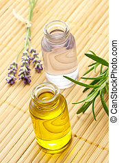 Aroma Oil in Bottles with Herbs