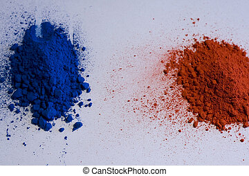 Red and blue pigments on a white backround