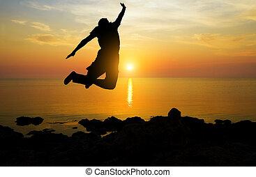 majestic dawn - silhouette of man on majestic dawn