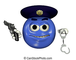 Police Officer Emoticon - 3D render of a police officer...