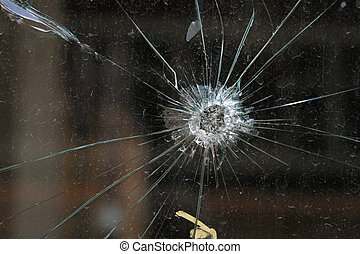 Bullet Hole - Bullet hole in glass