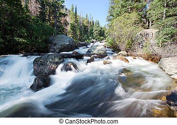 Copeland falls in Rocky Mountains National Park, Colorado in...