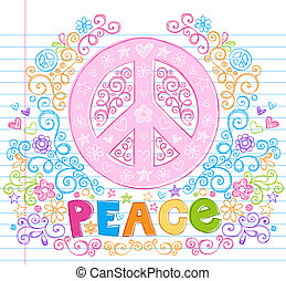 Peace Sign Sketchy Doodles Vector - Hand-Drawn Peace Sign...