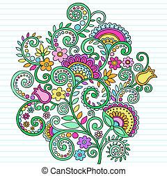 psicodélico, Doodles, flores, y, vides