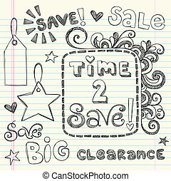 Coupon Sale Shopping Doodles Vector - Sketchy Notebook...