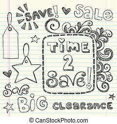 Coupon Sale Shopping Doodles Vector - Sketchy Notebook...