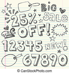 Sale Discount Doodles Vector - Sketchy Notebook Doodles 25...