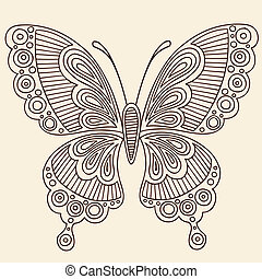 Henna Butterfly Doodle Vector - Butterfly Henna Tattoo...