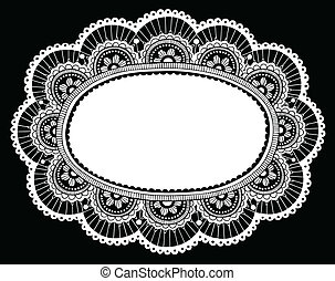 Lace Doily Crochet Border Vector - Lace Doily Henna Flower...