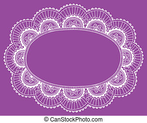 Lace Doily Frame Border Vector - Lace Doily Henna Flower...