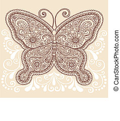 Butterfly Henna Paisley Doodle - Hand-Drawn Ornate Butterfly...