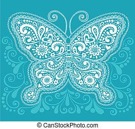 Butterfly Henna Mehndi Paisley Doodle Vector Illustration...