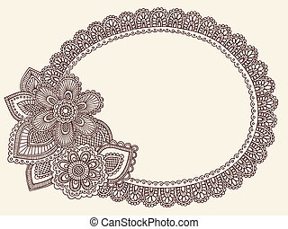 Lace Doily Henna Frame Vector - Hand-Drawn Lace Doily...