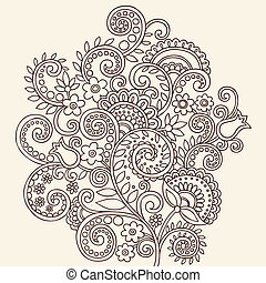 Henna Doodle Vines - Henna Mehndi Paisley Doodle Flowers and...