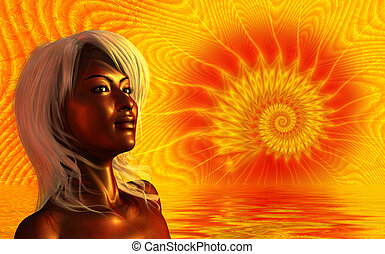 Sun Goddess - 3d render and fractal