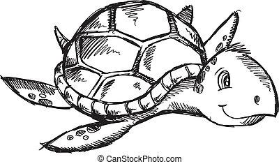Sketch Doodle Sea Turtle Vector - Cute Sketch Doodle Drawing...