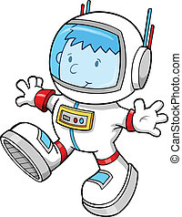 Astronaut Color Cartoon boy Vector - Cute Astronaut Color...