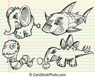 Doodle Sketch Animal Vector set - Angry Notebook Doodle...