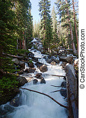 Calypso cascades in Rocky Mountains National Park, Colorado...