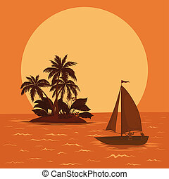 Sailing boat in the tropical sea - Sailing boat with a...