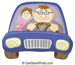 Car, driver and passenger - Cartoon, car with a man driver...