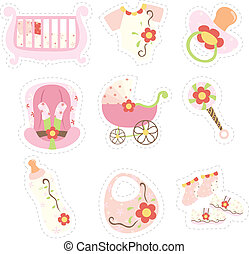 Baby girl items icons - A vector illustration of baby girl...