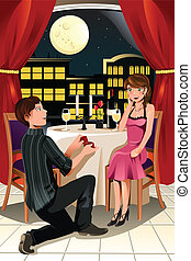 Marriage proposal - A vector illustration of a girl getting...