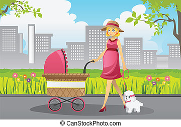 Pregnant woman walking - A vector illustration of a...
