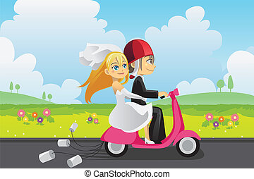 Bride and groom - A vector illustration of a bride and a...
