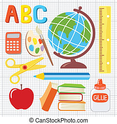 School supplies icons illustration - Fun and playful school...