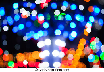 Lights flares abstract - Christmas background with blurred...