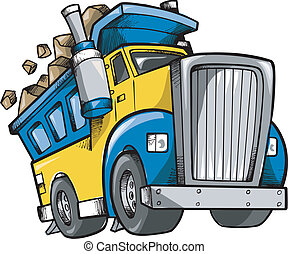 Dump Truck Vector Sketch Doodle illustration art