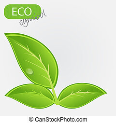 Environmental icon with plant. Vector illustration