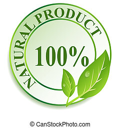 Label for natural products. Vector illustration.