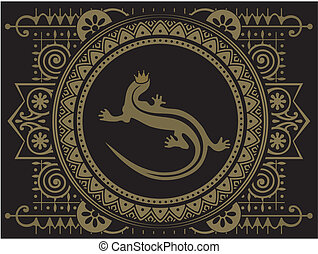fantastic frame with a lizard in th