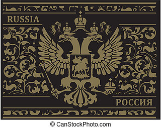 Russian flag on the patterns of - Russian double-headed...