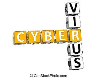 3D Cyber Virus Crossword on white background