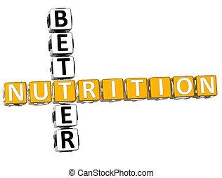 3D Better Nutrition Crossword on white background
