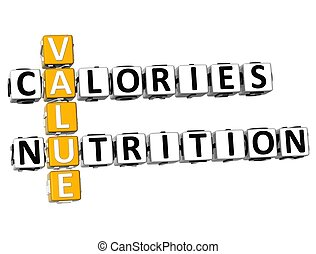 3D Values Calories Nutrition Crossword on white background