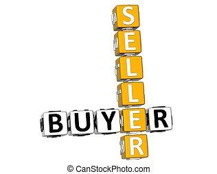 3D Buyer Seller Crossword on white background