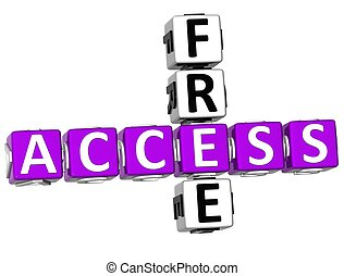3D Access Free Crossword on white background
